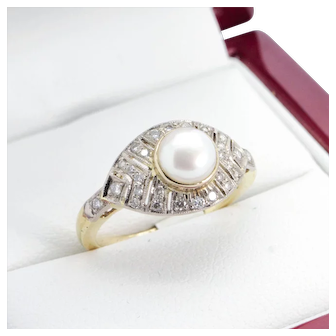 Vintage Natural Freshwater Pearl and 29 stone Diamond engagement ring. 18k gold Diamond and Natural Freshwater Pearl cluster, dinner ring
