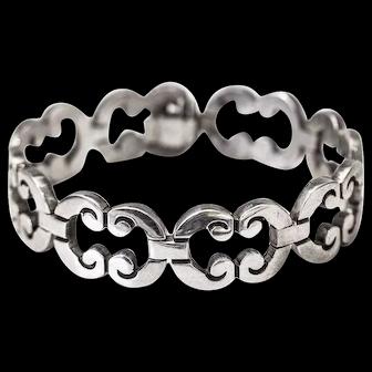 """Handmade Vintage Sterling Silver flex """"C"""" link bracelet design Taxco Mexico"""