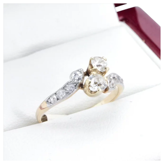 Art Deco Diamond Engagement ring, with beautiful crossover 14k gold setting. Circa 1930