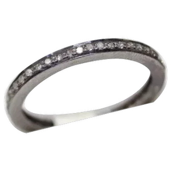 New! Lovely Narrow Full Eternity Band, Rose Cut Diamond and Enamel Ring Set in Silver
