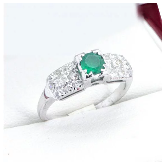 "Vintage Emerald and Diamond Engagement Ring, in ""14k"" Gold. Beautiful!"
