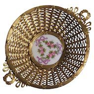 19th Century Gilt Metal Woven Handled Basket With Floral Porcelain Center