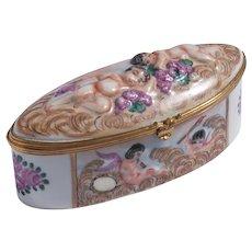 Early Vintage Signed Italian Capodimonte Cherub Trinket Box With Gilt Metal Mounts