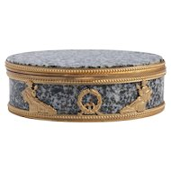 19th Century Second Empire Granite Oval Box With Gilt Bronze In Greek Revival Style