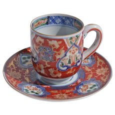Antique Signed Japanese Imari Demitasse Cups And Saucers