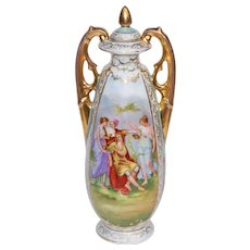 20th Century Vintage Lidded Porcelain Urn With Romantic Theme