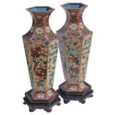 Pair Of  Vintage Cloisonné Large Vases With Stands