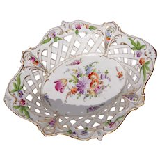 19th Century Dresden Pierced Porcelain Basket