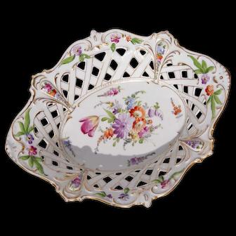 19th Century Dresden Pierced Porcelain Basket