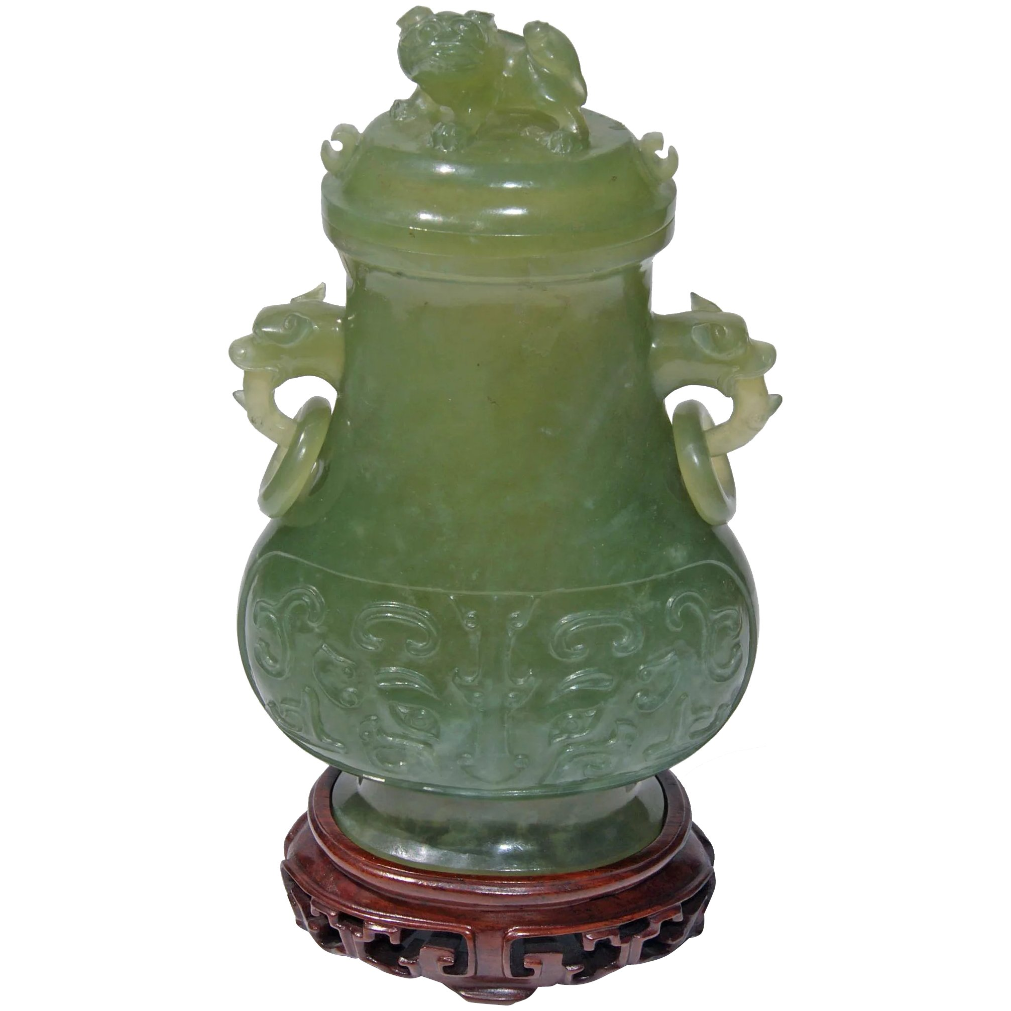 19th century covered serpentine jade vase charles for Asian antiques west palm beach