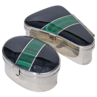 Pair Of Onyx And Malachite Silver Table Boxes