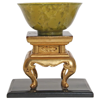 20th Century Chinese Moss Jade Carved Bowl And Stand
