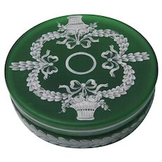 Antique Forest Green Cameo Glass Circular Box