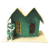 Vintage Cardboard House for Christmas Village, Japan, Green