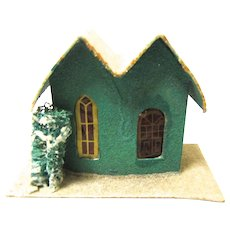 Vintage Cardboard House for Christmas Village, Japan, Green