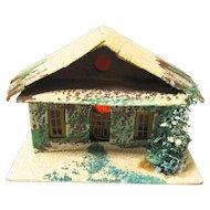 Vintage Cardboard House for Christmas Village, Japan, Brown