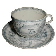 Green Transferware Child's Cup & Saucer, STAG, Allertons