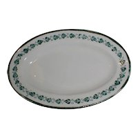 Child's China Set Platter, Green Transferware, Copeland