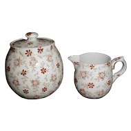 Lovely Child's Brown Transferware Sugar & Creamer, 1860