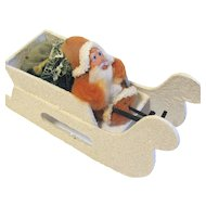 Vintage Christmas Decoration Clay-Faced Chenille Santa Claus in a Sleigh