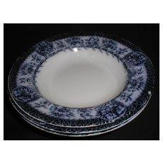 Group of 3 Flow Blue Soup Plates, MIKADO, Grimwades