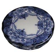 Lovely Flow Blue Dessert Plate, WELBECK, J.W.H, c. 1905