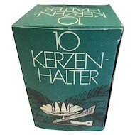 Vintage Christmas Decoration, Box of 10 Tree Candle Holders Kerzen-Halter