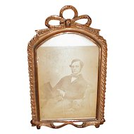 Lovely French Ribbon Stamped Brass Tabletop Photograph Frame