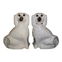 19th Century Pair of White Staffordshire Spaniels (Dogs)