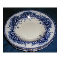Lovely Flow Blue Floral Soup Plate, 4 Available