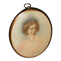 Oval Brass Table Top Frame w/ Hand Tinted Photograph, Signed