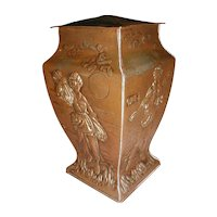 Early 1900's British Biscuit Tin, Copper Finish, Harvest
