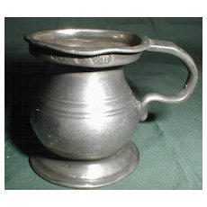 19th Century Small Bulbous Pewter Measure, British