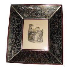 Set of 4 Mirrored Frames with Fashion Prints, Paul L. Baruch