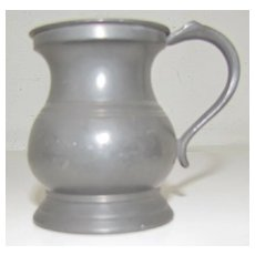 Lovely Bulbous British Pewter Measure, ca 1880+