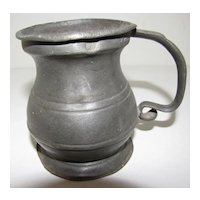 Early 19th Century Pewter Bulbous (Bellied) Measure, Half Pint