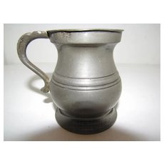 Ca 1850 British Bulbous (Bellied) Pewter Measure, 1 Gill