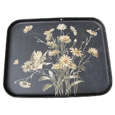 Large Antique Papier Mache Tole Serving Tray, Daisies and Bird