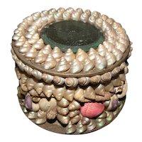 Lovely Victorian Shell Powder Box w/Mirror, Souvenir