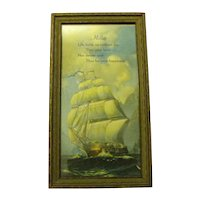Vintage Framed Print of Tall Ship with Tribute to Mother