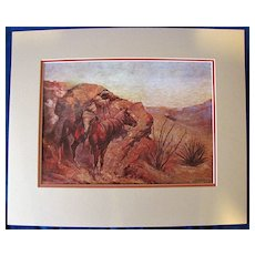 Matted Print, Western Art, APACHE, by Frederic Remington