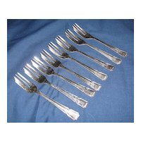 Set of 8 Silver Plate Small Forks Sheffield England