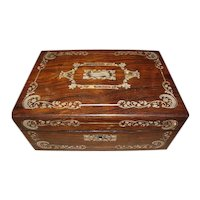 Lovely Antique MOP Inlay Writing Box, English