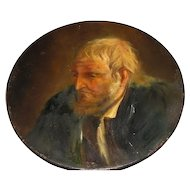 Great Portrait of a Man on Round Pewter Plate, Turn of the Century