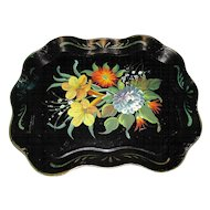 Vintage Black Chippendale Tole Tray, Flowers
