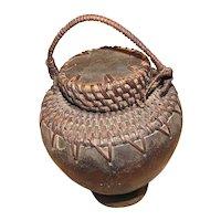 Vintage African Folk Art Bowl, Basket with Cover