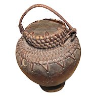 Vintage African Folk Art Bowl, Basket with Cover