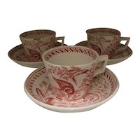 Group Of 3 Child's Cup & Saucer Sets, Water Hen
