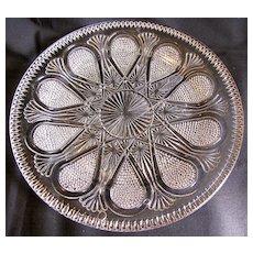 Unusual EAPG Serving Plate, Raindrop, Fan, Daisy & Button