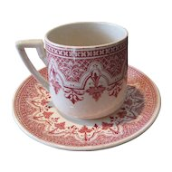 Lovely Red Transferware Demitasse Cup & Saucer, French